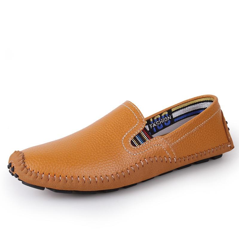 online store 6c04e 8d7c2 US $28.55 49% OFF|JKPUDUN Plus Größe Herren Penny Loafers Fahren Schuhe  Casual Echtem Leder Luxusmarke Italienischen Mode Mann Weiß Wohnungen ...