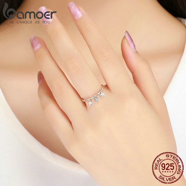 BAMOER 100% 925 Sterling Silver Fashion Sparkling Dangle Star Finger Rings for Women Wedding Engagement Ring Jewelry SCR406