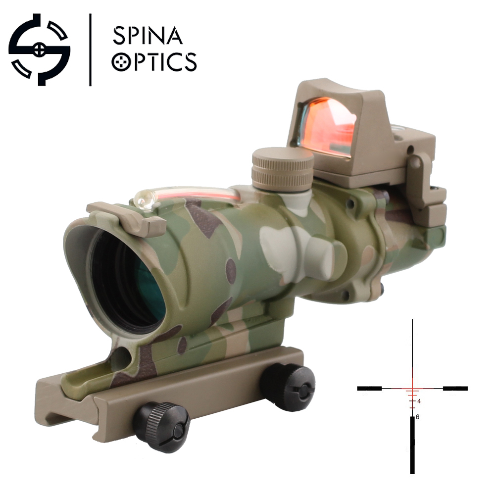 SPINA OPTICS ACOG 4X32 Real Red Fiber Scope Red Illuminated Optic Sight Rifle Scope With RMR Micro Red Dot