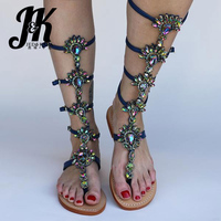 JK 2019 Arrival Basic Knee High Boots Open Toe Comfortable Rubber Crystal Appliques Summer Boots Women Shoes Flat With Zipper