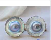 FREE Shipping P3588 HUGE 20MM GRAY SOUTH SEA MABE PEARL 925SILVER GILD EARRING