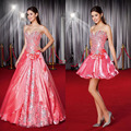 Custom made vestido quinceanera 2017 prata Brilhante Apliques Querida Vestido De Baile Destacável Organza formais vestidos de baile