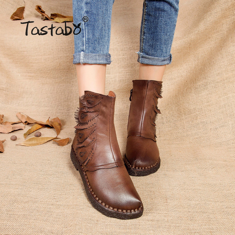 Tastabo Martin boots leather shoes folk style retro flat boots Warm Velvet women original casual shoe Winter Ankle Boots serene handmade winter warm socks boots fashion british style leather retro tooling ankle men shoes size38 44 snow male footwear
