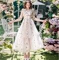 2017 Весна Женщины красивые длинные dress big bottom элегантное вечернее dress плюс размер сетки вышивка лонгос vestido де феста 4XL 98591