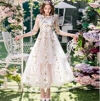 2017Spring Women Beautiful Long Dress Big Bottom Elegant Party Dress Plus Size Mesh Embroidery Longos Vestido