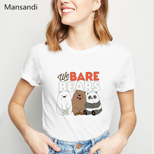 we bare bears animal printed tshirt graphic tees women funny t shirts femme 90s roupas tumblr clothes t-shirt harajuku shirt animal футболка animal graphic p05 12