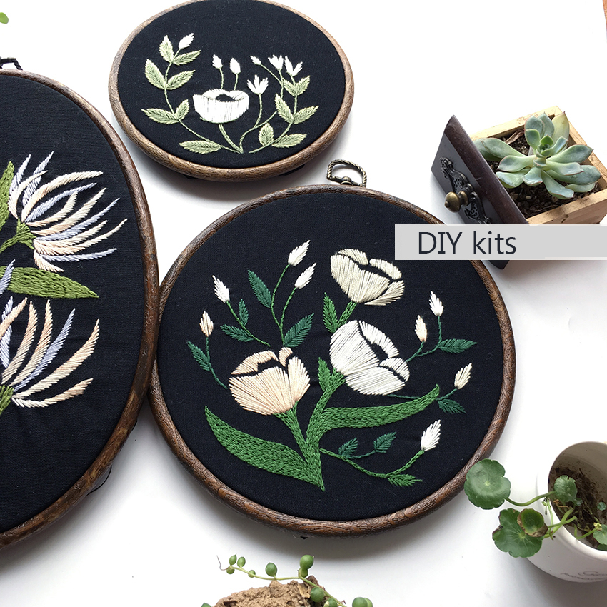 DIY 3d Embroidery for Beginner Needlework Kits Cross Stitch Beautiful Flowers & Butterfly Wall Art Home Decor With Frame