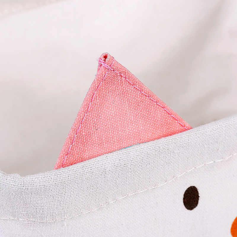 Gato dos desenhos animados cotton linen Dobrar brinquedo do miúdo para o escritório de Papelaria organizador Caixa de Armazenamento de Artigos Diversos de Mesa cesta de armazenamento de Cosméticos