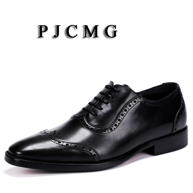 brown Encaje Hombres Oxford Tamaño Puntiagudo Dedo Los marrón Pjcmg De Cuero Genuino 38 Black Hombre Del Boda Moda La Vestido Zapatos Tallado Oficina Pie Negro 46 qw8FE4