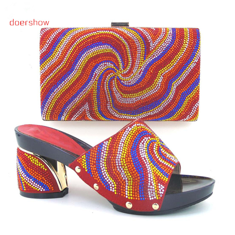doershow Fashion Women Italian Matching Shoe And Bags Set With Rhinestones High Quality African Wedding Shoes And Bag!DL1-17