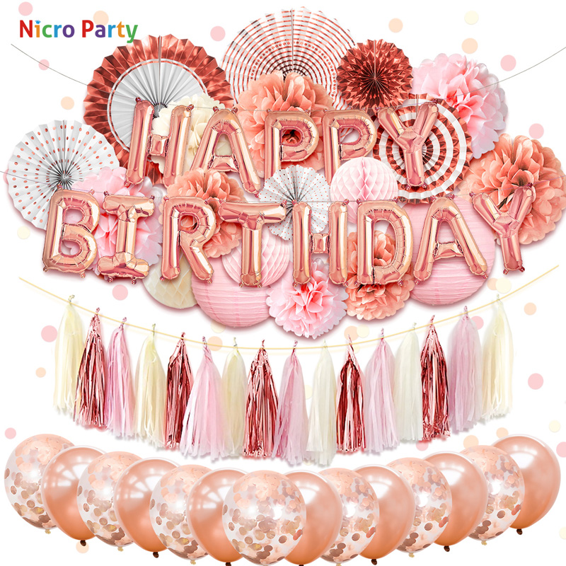 Nicro 62 pcs set Happy Birthday Party Decorations Kit Rose Gold Lanterns Flowers Balloons Home New