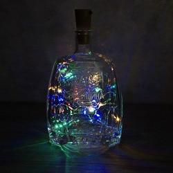 2 м светодиодная гирлянда из медной проволоки, гирлянда, сказочные огни для стеклянной бутылки, Новогоднее/рождественское/свадебное украше...