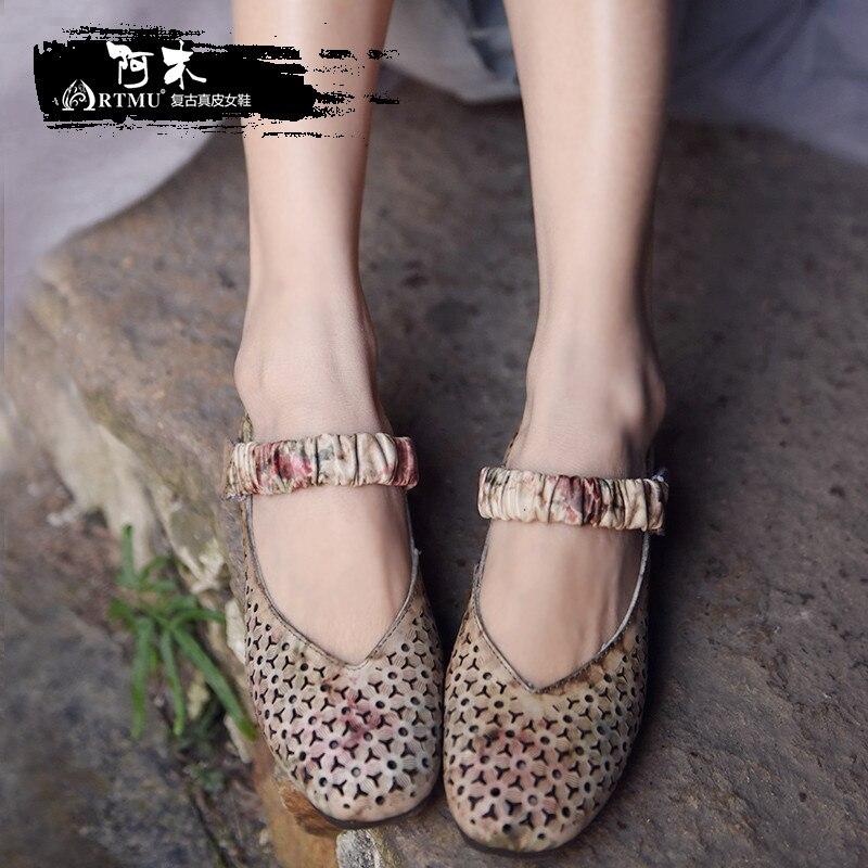 Здесь продается  Artmu Original Summer New Soft  Square Toe Hollow Women Shoe Cowhide Flat Bottom Shallow Mouth Handmade Retro Shoes 368-7  Обувь