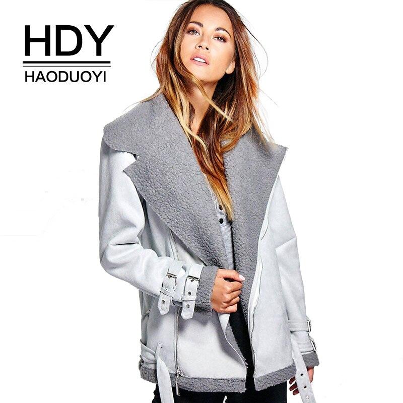 HDY Haoduoyi Для женщин куртка зима-осень теплые модные замша кожа серебро пальто Верхняя одежда с лацканами шеи молнии спереди куртки