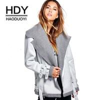 HDY Haoduoyi Women Jacket Winter Autumn Warm Fashion Suede Leather Silver Coat Outwear Lapel Neck ZIpper Front Jackets