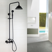 Bathroom ORB Luxury Shower faucet set European style Retro Black Bronze lift shower set black antique drawing copper shower