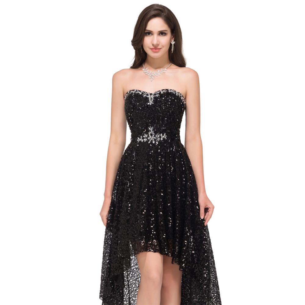 Grace Karin High Low Black Prom Dresses 2017 Short Front Long Back Evening Dress Vestidos de Festa Sequins Prom Dresses 8915 11