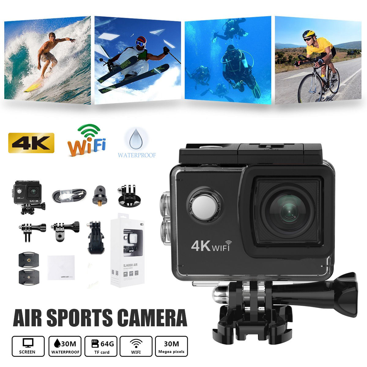 Nouveau 2 pouces LCD Écran et 170 Angle Large Angle 4 k 1080 P Wifi Action Caméra Sous-Marine Étanche Cam sport en plein air Caméscope Min