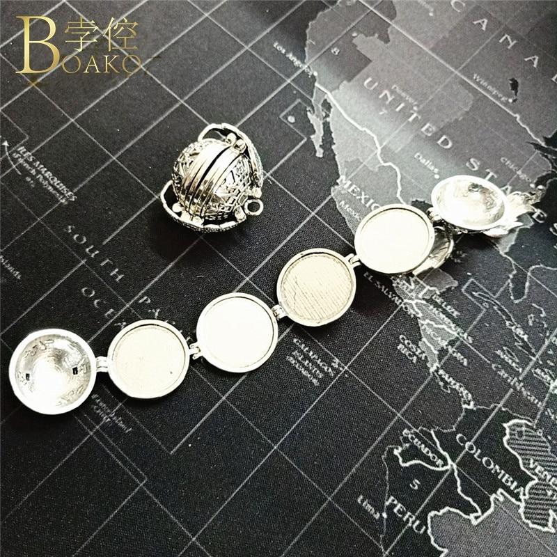BOAKO Memory Necklace Women Men Photo Box Pendant Necklace Planet Folding Photo Locket Couple Birthday Necklace Girl Gift K5 in Pendant Necklaces from Jewelry Accessories