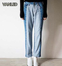 2017 Korean New Arrival Light Blue Waterwash Patchwork Casual Women's Jeans Straight Trouser 91283