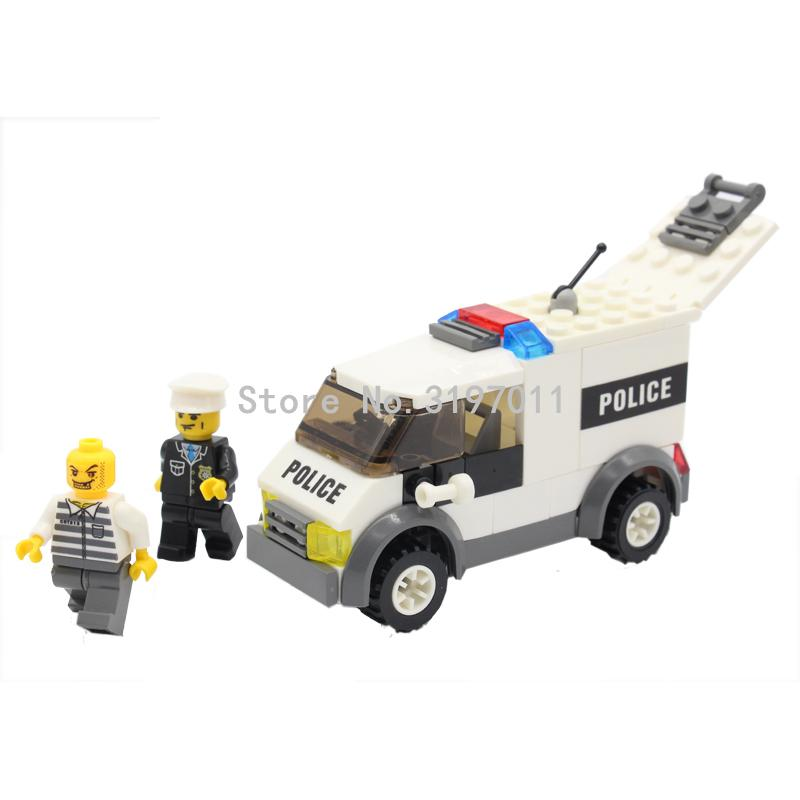 KAZI 6732 Police & Prisoner Cars City Series Model Building Blocks Set Mini Bricks Educational Toys for Children Christmas Gifts hot city series aviation private aircraft lepins building block crew passenger figures airplane cars bricks toys for kids gifts