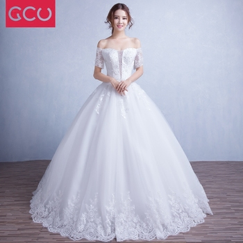 Luxury Wedding Dress 2019 Bride Princess Romantic Boat Neck Lace Embroidery Elegant Wedding Gown Vestido De Noiva