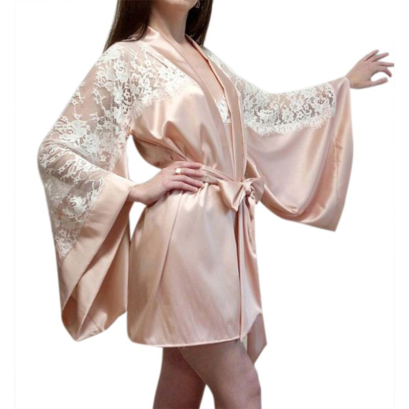 Womens Plus Size Long Batwing Sleeves Lingerie Night Robe Faux Silk Sheer Eyelash Floral Lace Patchwork Nightgown Bowknot Sash
