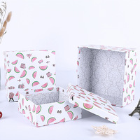 12pcs Cartoon watermelon square three piece gift box wedding party favor packaging boxes wholesale