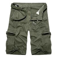 Heren Militaire Cargo Shorts 2017 Zomer legergroen Katoen Shorts mannen Losse Multi-Pocket Shorts Homme Casual Bermuda Broek 40