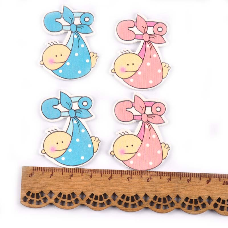 20 шт 47x25 мм без отверстий синий/розовый детский узор декоративные деревянные кнопки для скрапбукинга ремесло MT1074