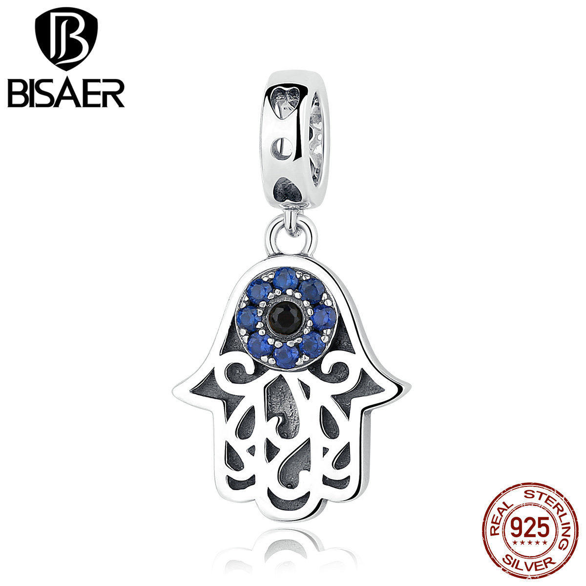 BISAER Eye Design Series 925 Sterling Charms Silver Blue Evil Eye Pendants Charms Fit Pan Bracelets & Bangles For Women Jewelry