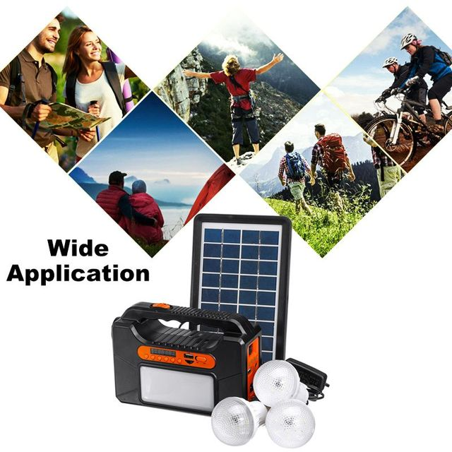 USB Charger System Solar Power Panel Generator Kit+bluetooth Radio+3 LED Bulb Light for Home Outdoor Emergency Charging Lighting 2