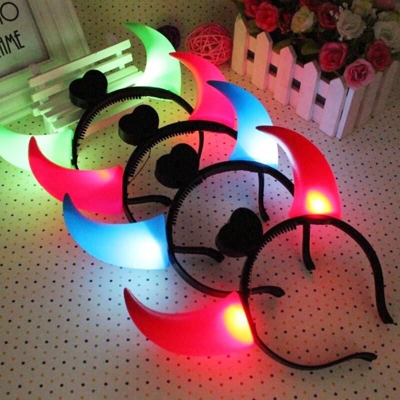Hot Sale 1 PCS Luminous Sapi Tanduk Lampu Menyala Mainan anak-anak Halloween Hadiah Ulang Tahun
