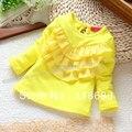 Весна осень рубашки младенцы длинный рукав футболки девочки милый блузка дети синглетный