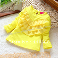 Envío libre al por menor nuevo 2013 otoño primavera moda camisetas bebé de manga larga camiseta niñas del todo fósforo lindo niños blusa singlete