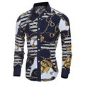 Mens Stylish Shirts Luxury Long Sleeve Printed Turn-down Collar Slim Fit Single Breasted Casual Dress Shirts Casual Tops