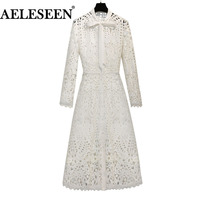 Luxury Office Lace Dress 2018 Summer Fashion New Vintage Hollow Out Bow Stand Collar Full Sleeve White Ladies Dress Women