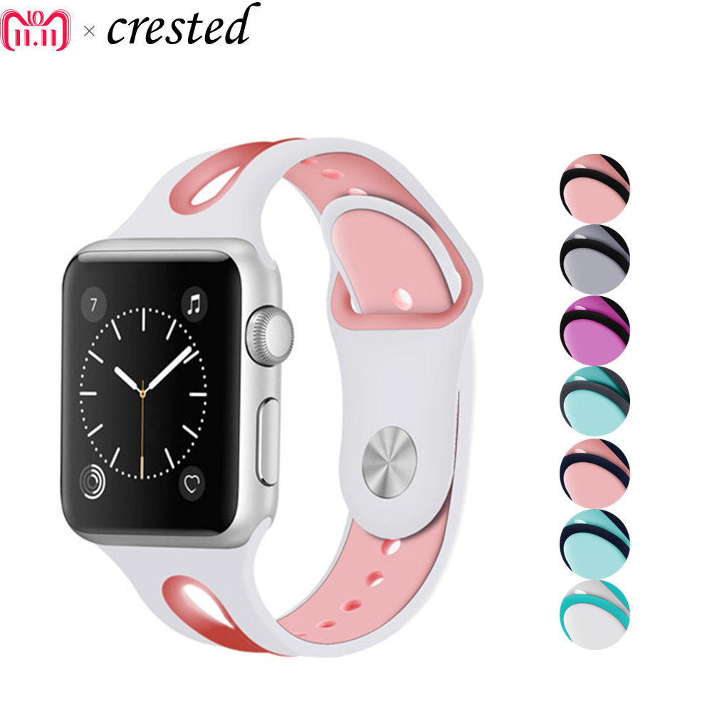 Sport strap For Apple watch 3 2 1 4 Iwatch band 42mm 38mm 44mm 40mm Natural silicone bracelet wrist belt Clock rubber watchband crested sport band for apple watch 42mm 38mm bracelet strap iwatch nike 3 2 1 breathabe wrist watchband rubber watch band strap