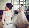 Robe de mariee New Type Wedding Dress 2017 O-Neck Long Sleeves Chapel Train A-Line Appliques Tulle Bride Gowns