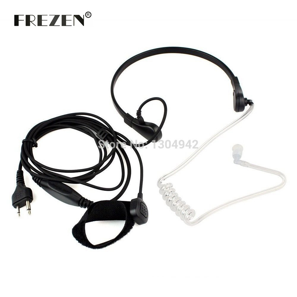 Throat Mic Microphone Covert Acoustic Tube Bodyguard FBI Earpiece Headset With Finger PTT 2PIN For Icom Maxon Yaesu Vertex Radio