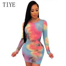 TIYE Women Party Club Summer Dress Sexy Bandage Bodycon Long Sleeve Mesh Elegant Rainbow Tie Dye Print Mini Pencil Dresses