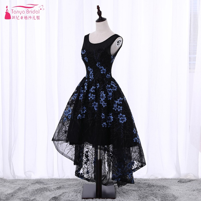 Pattern Floral Embroidery Prom Dresses 2018 Short Front Long Back High Low Ball Gown Black Evening Prom Gown DQG112