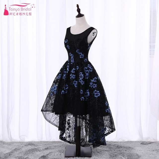 b17cdcf7db3 Pattern Floral Embroidery Prom Dresses 2018 Short Front Long Back High Low Ball  Gown Black Evening Prom Gown DQG112