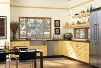 2019 горячие продажи 2PAC кухонные шкафы желтого цвета современная Глянцевая Лаковая кухонная мебель L1606073