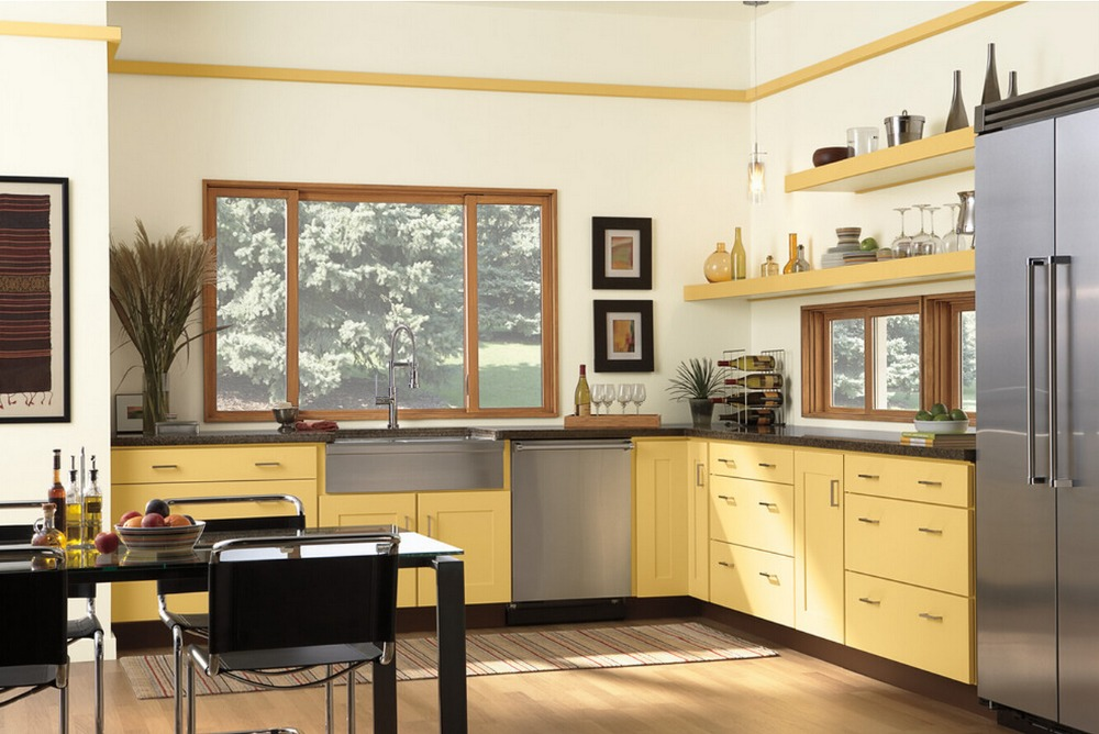 2019 Hot Sales 2PAC Kitchen Cabinets Yellow Colour Modern High Gloss Lacquer Kitchen Furnitures Pantry L1606073