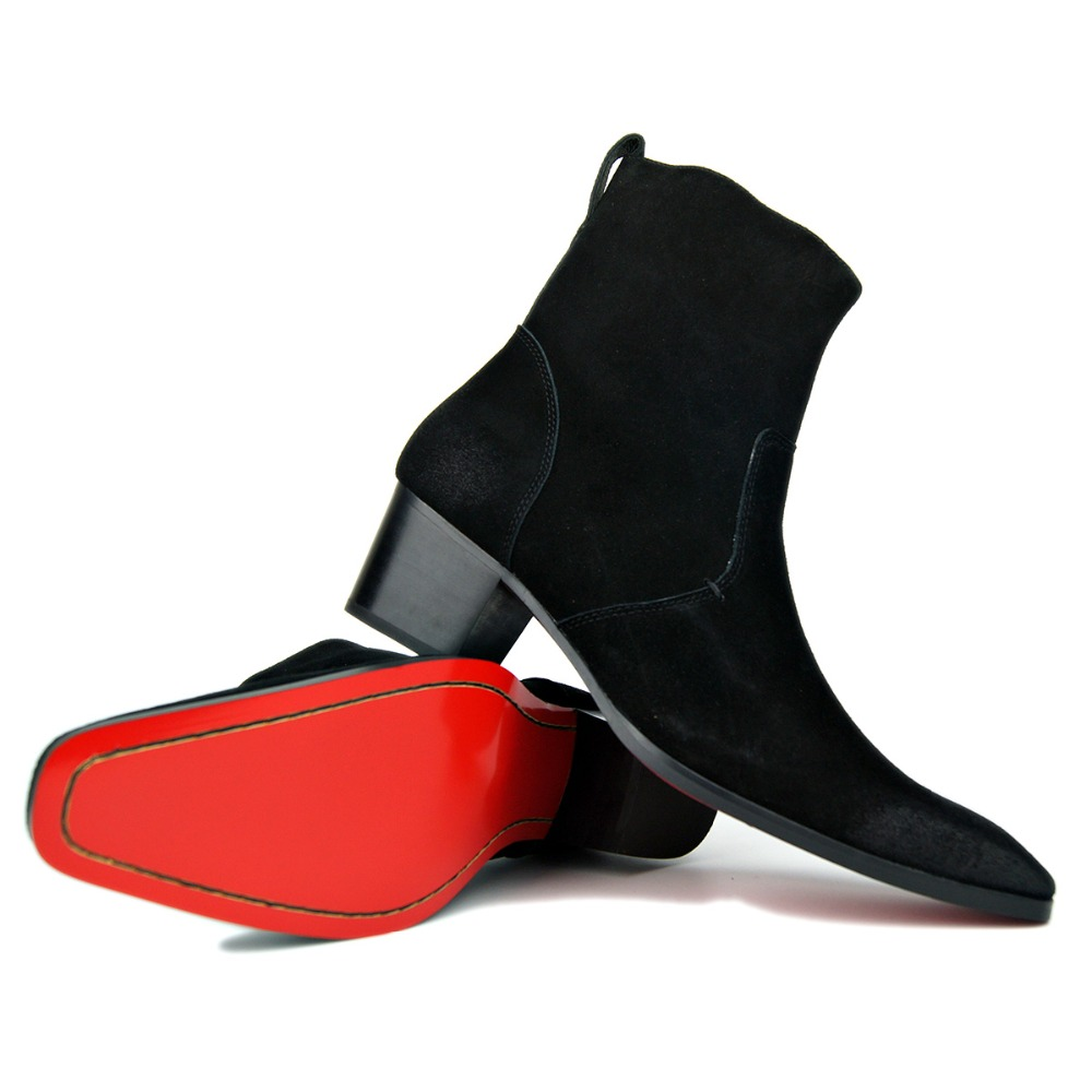4 色高ヒールブーツ男性手作り本物のスエードレザーブランド古典的な靴男性デザイナー結婚式の靴高速無料  グループ上の 靴 からの チェルシーブーツ の中 1