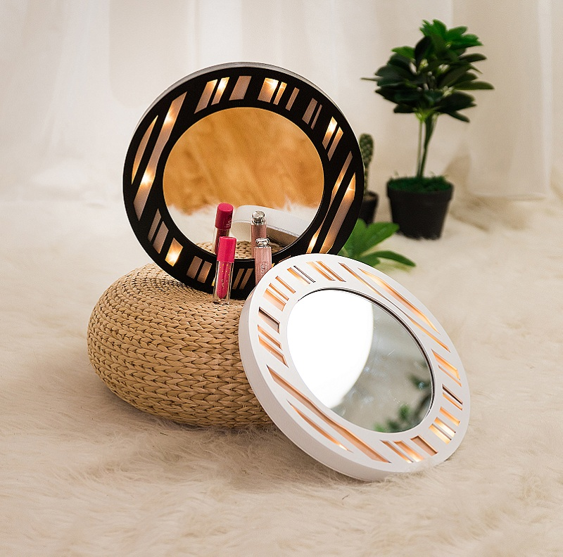 Round Hanging Mirror LED Wooden Vanity Makeup professional fairy night lights Wall battery Bathroom bedroom girl gift