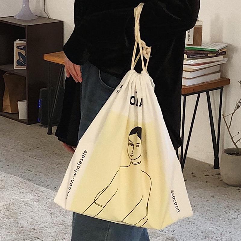 Cotton Drawstring Clothing Sorted Organiser Hand Bag Shoulder Bag Print Girl LZ9304a