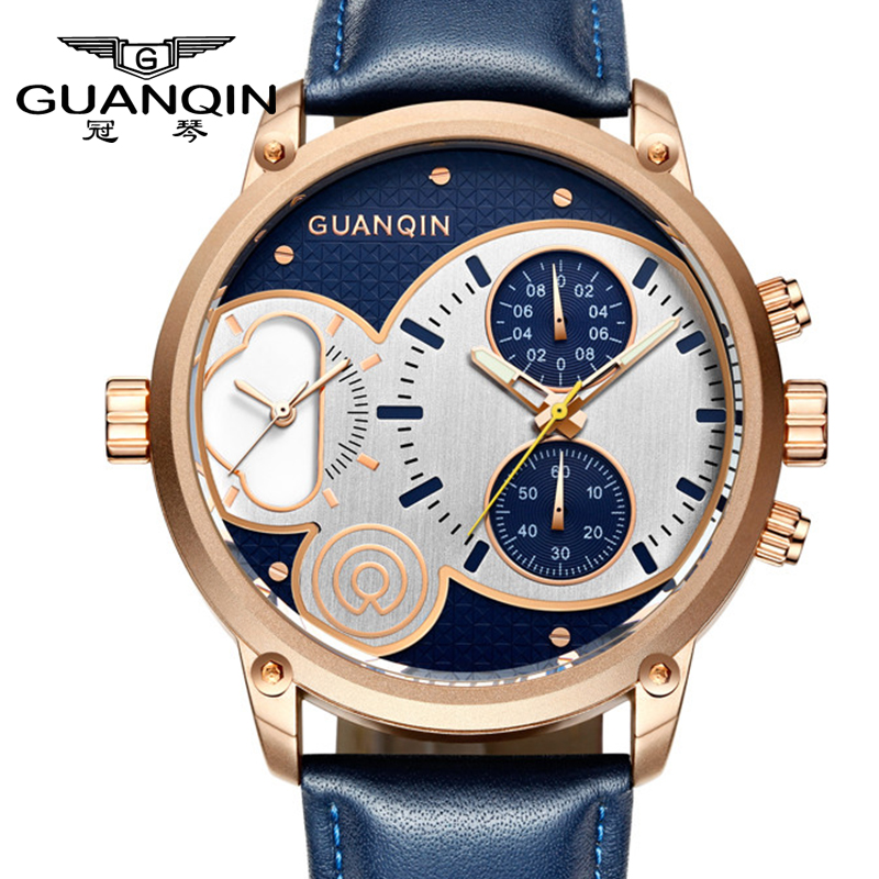 GUANQIN Men Sports Watches Waterproof Top Luxury Brand Males Leather men watch Luminous Chronograph Big Dial Quartz Wrist Watch цена