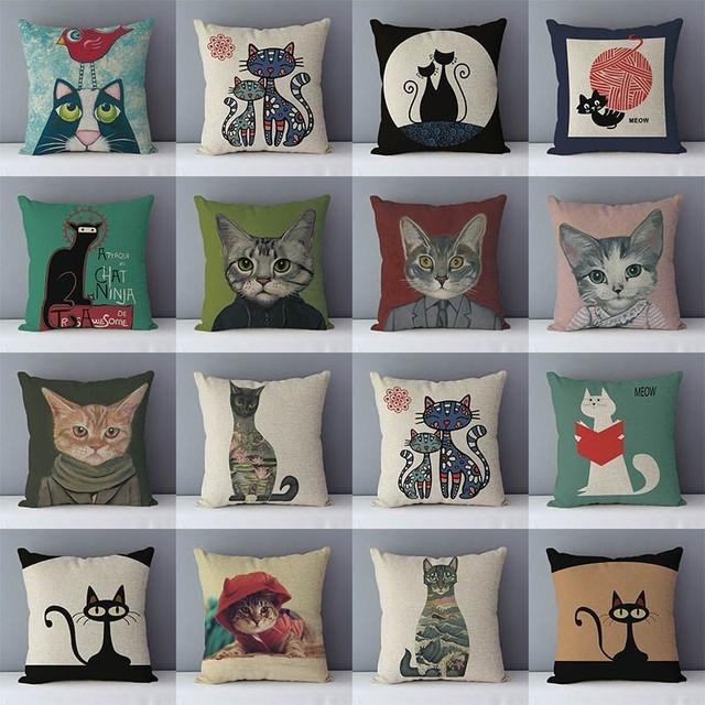 Seleccionados cojín de sofá de gato de dibujos animados impreso de algodón de calidad ropa de almohadas decorativas niños dormitorio decoración funda de almohada al por mayor
